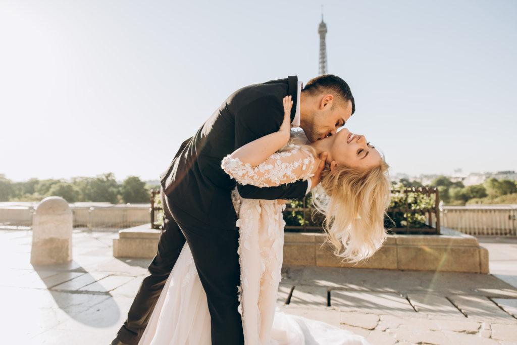 happy wedding couple in Paris