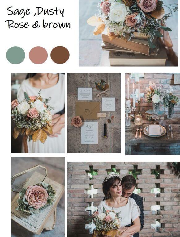 Color Palette Sage, Dusty Rose, Brown